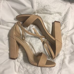 Nude block heel sandals